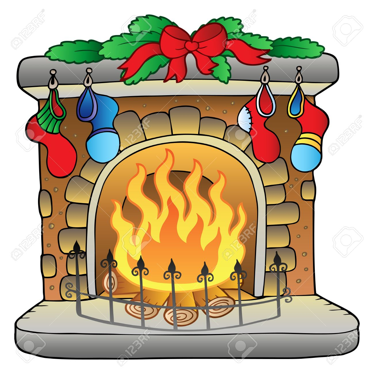 christmas cartoon fireplace royalty free cliparts vectors and rh 123rf com