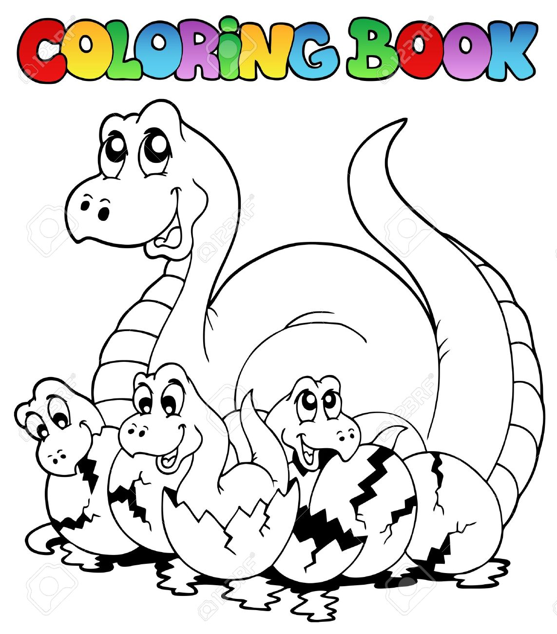Coloring Book With Young Dinosaurs
