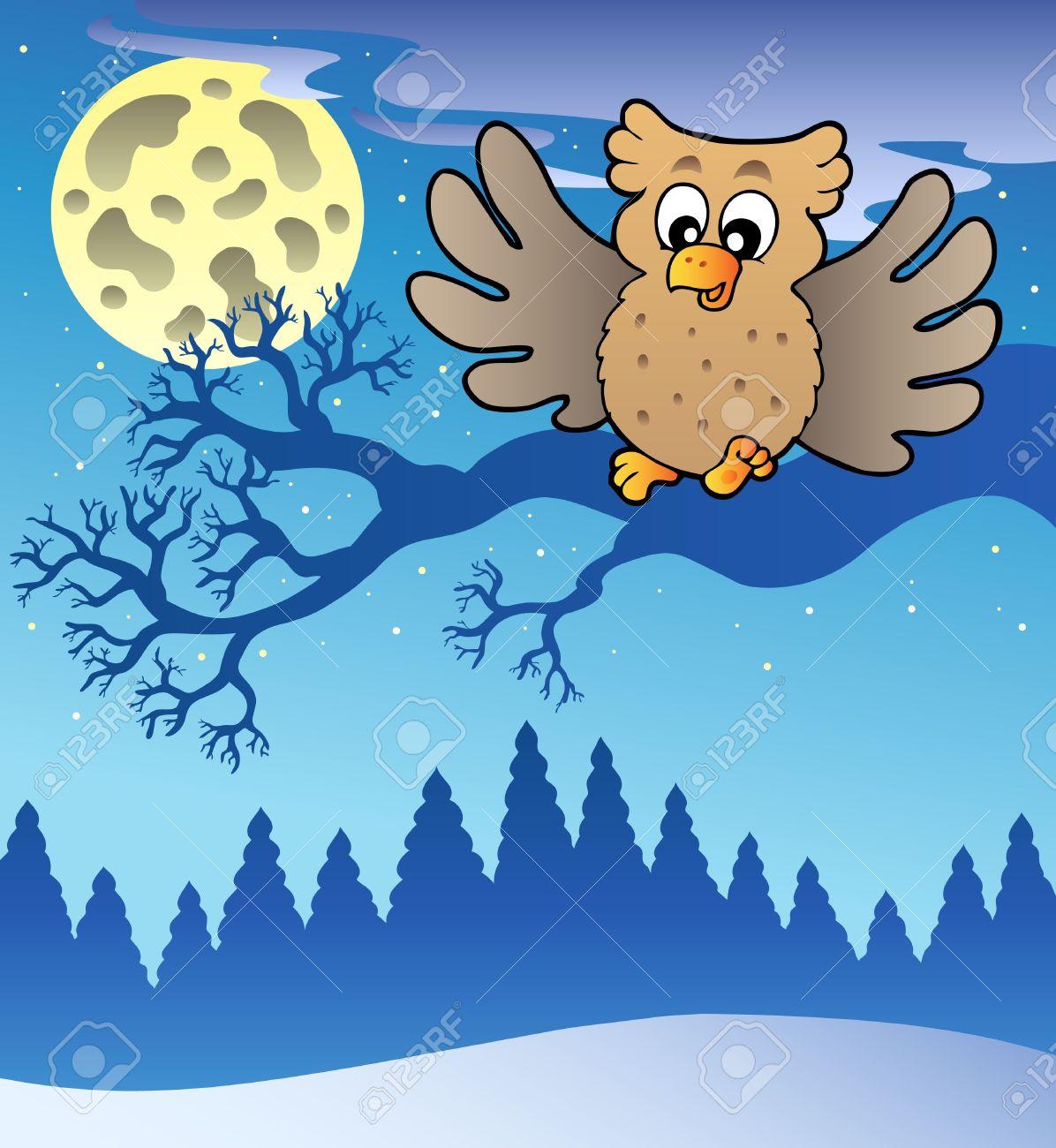 Cute flying owl in snowy landscape - illustration. Stock Vector - 8475480