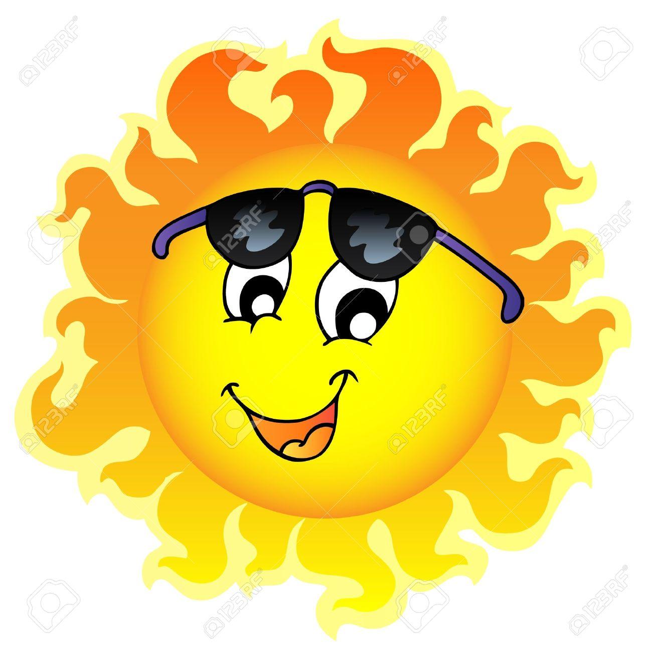 cute funny sun with sunglasses illustration royalty free cliparts rh 123rf com Sun Face Drawings Cartoon Sun