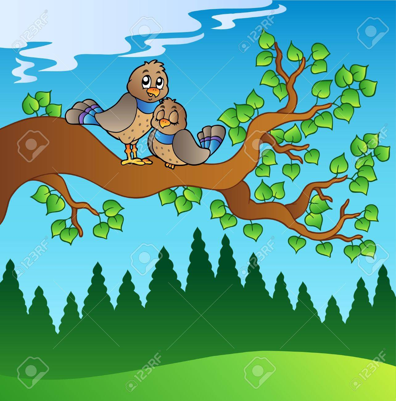 Two cute birds sitting on branch - illustration. Stock Vector - 8475475