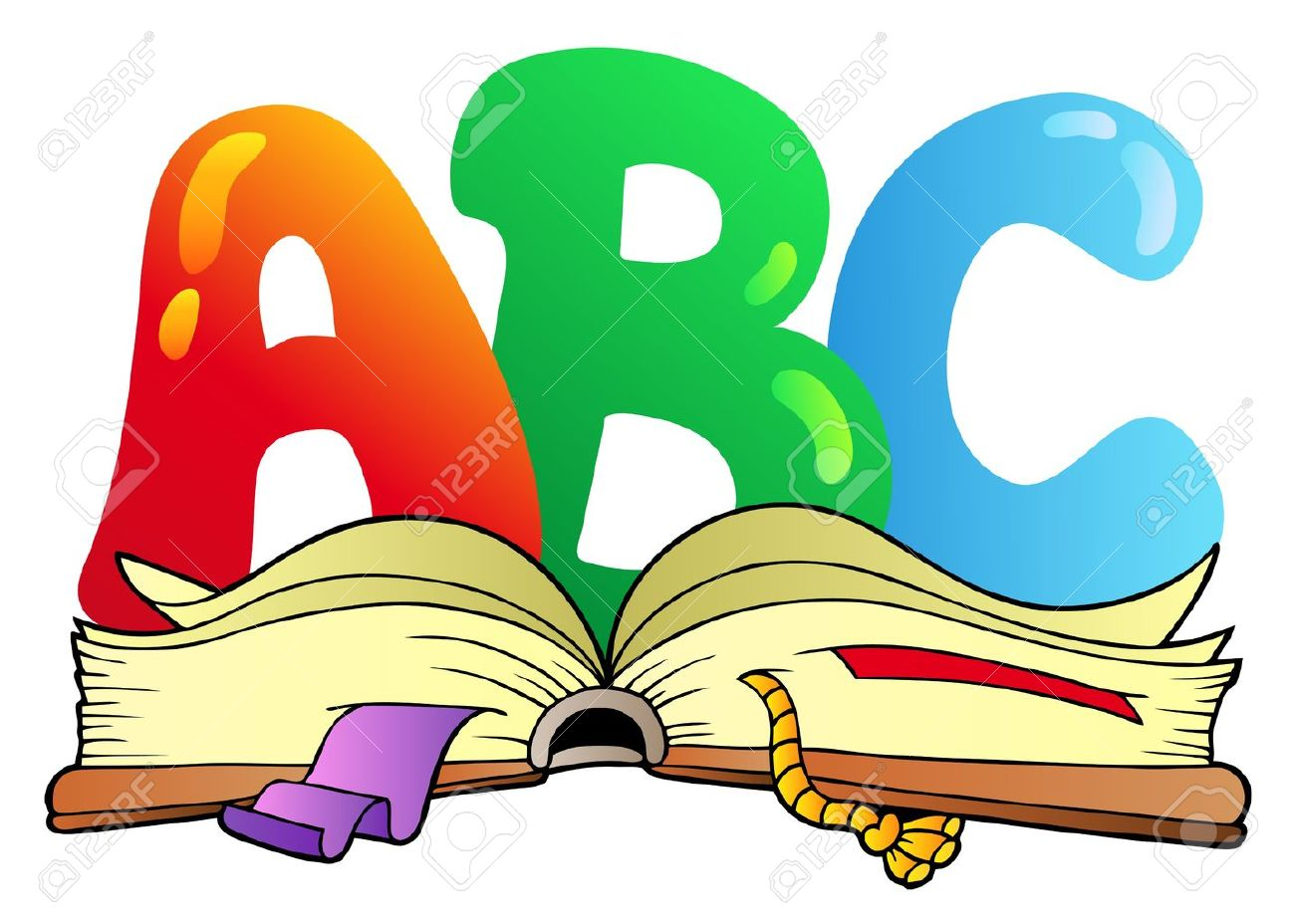 cartoon abc letters with open book vector illustration royalty