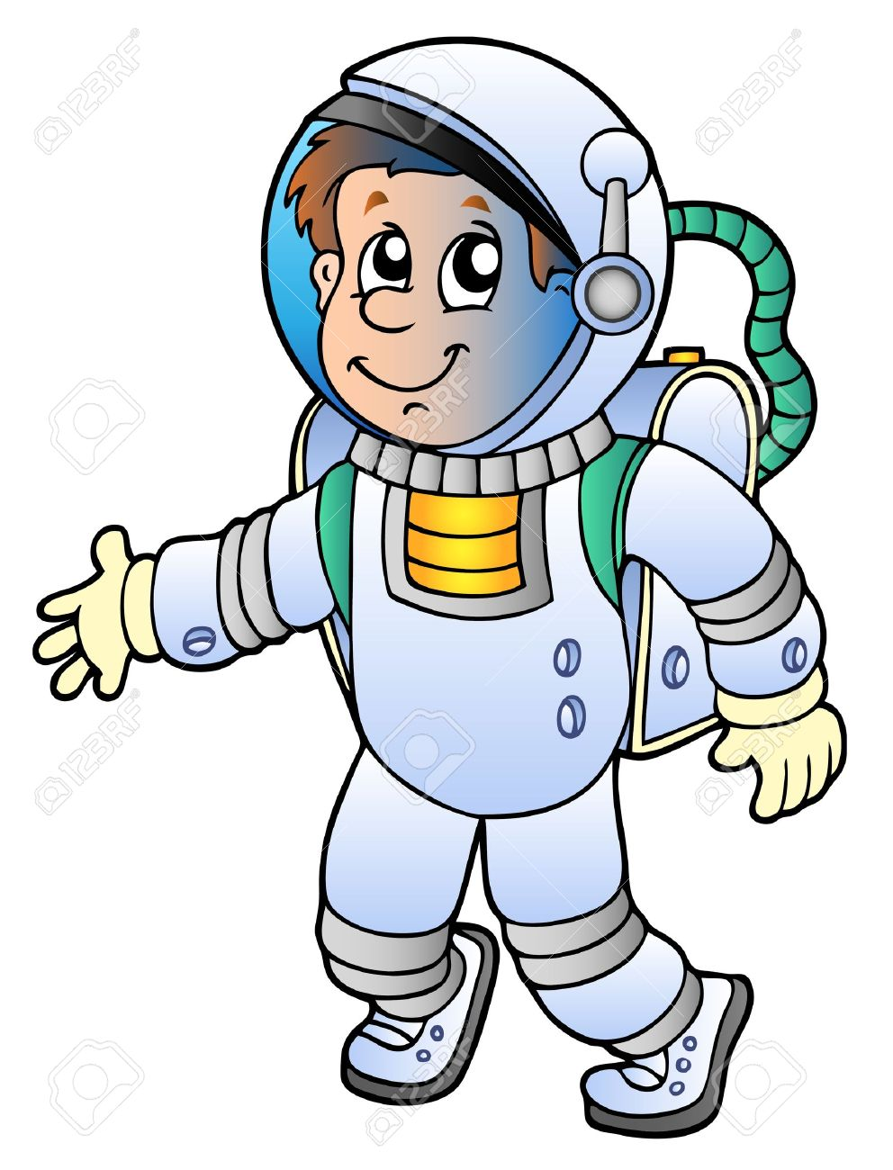 cartoon astronaut on white background vector illustration royalty rh 123rf com