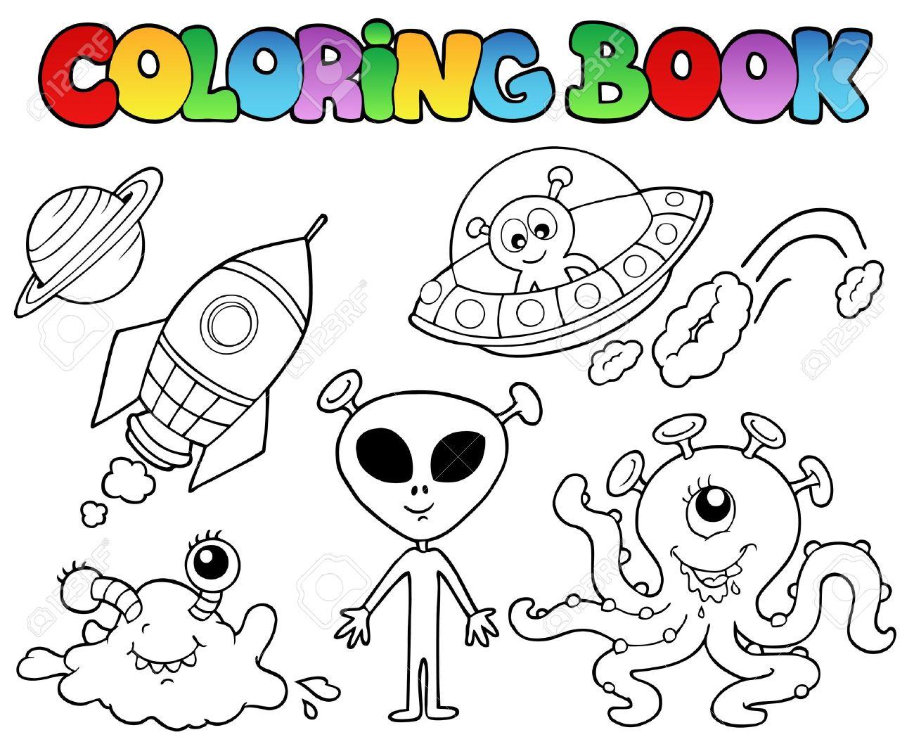 Libro Para Colorear Con Extranjeros - Ilustración Vectorial ...
