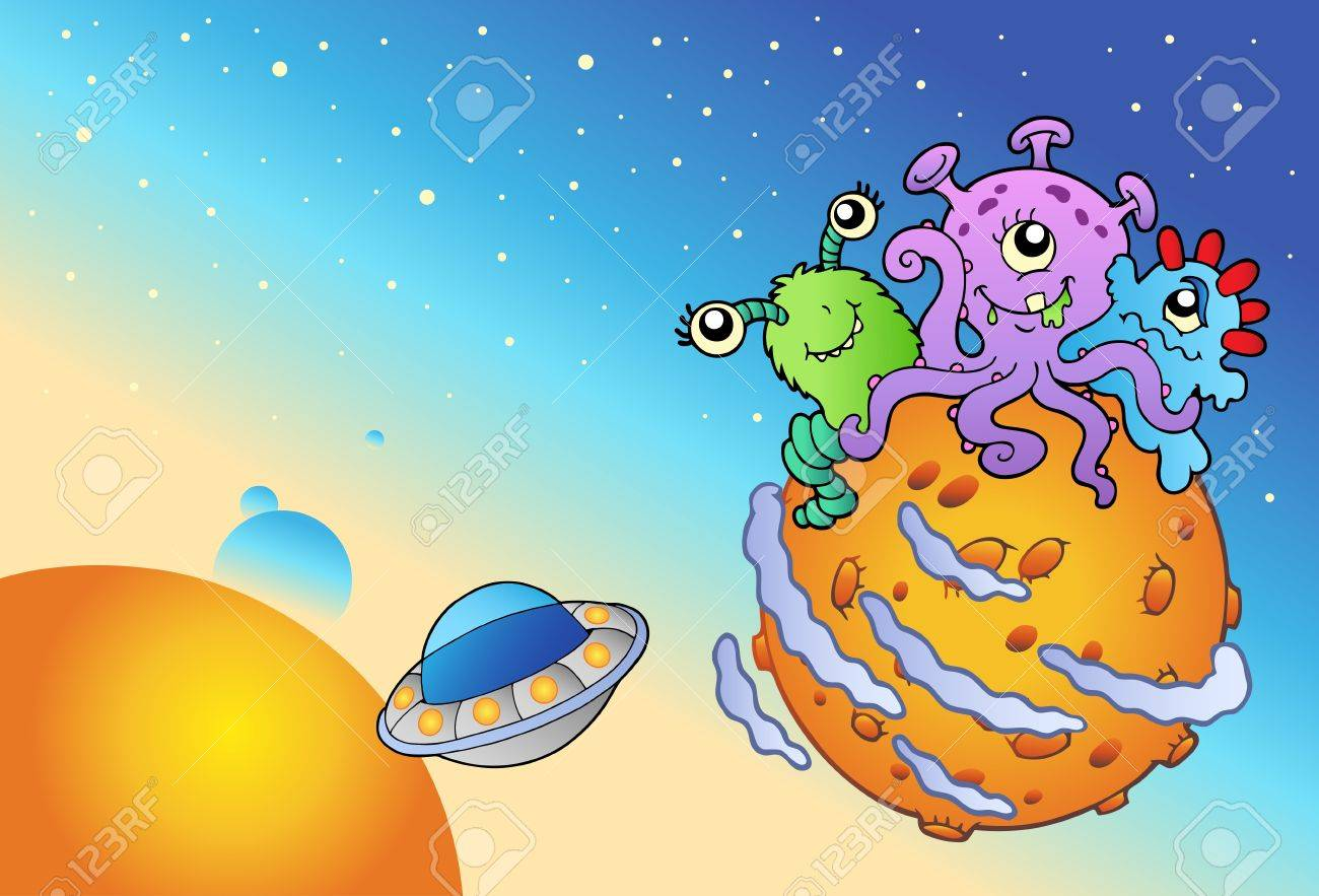 Spacescape with three cute aliens - vector illustration. Stock Vector - 8528705