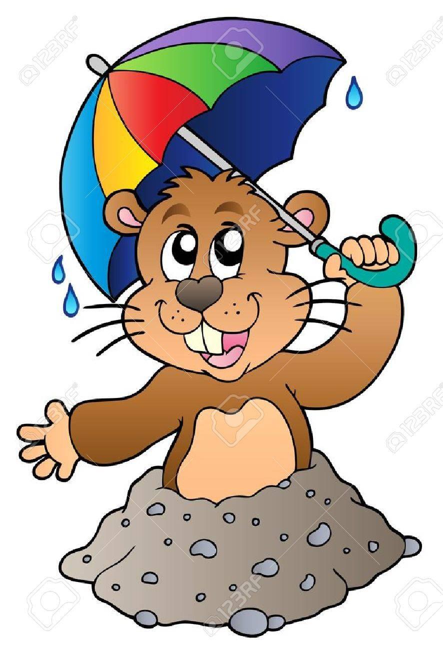 Cartoon groundhog with umbrella - Vector illustration. Stock Vector - 8604876