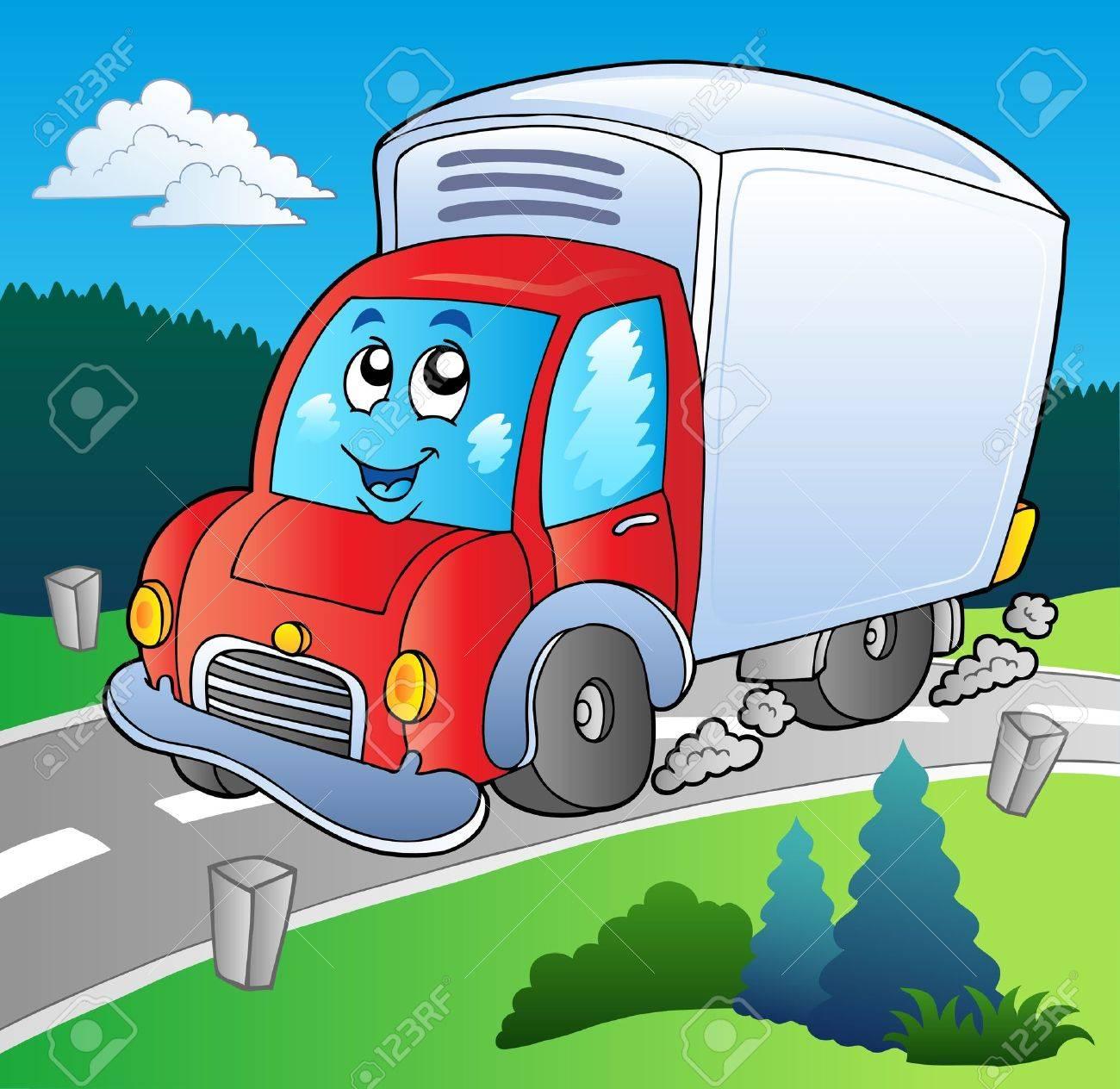 Camion De Livraison Du Dessin Animé Sur Route