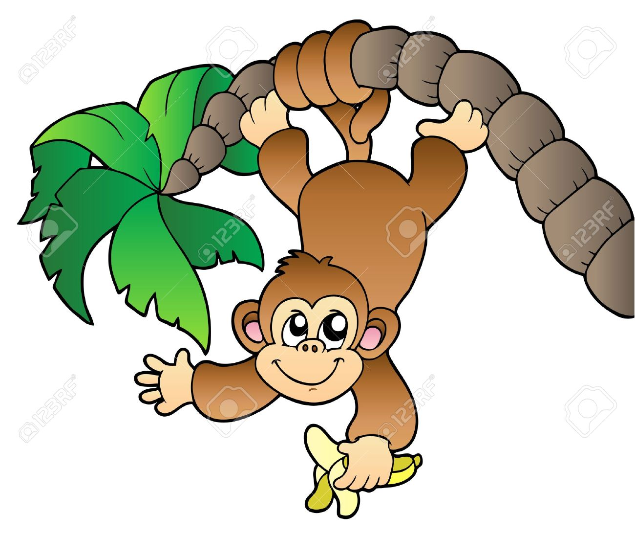 Images for simple cartoon monkey hanging - Monkey Hanging On Palm Tree Stock Vector 8799812