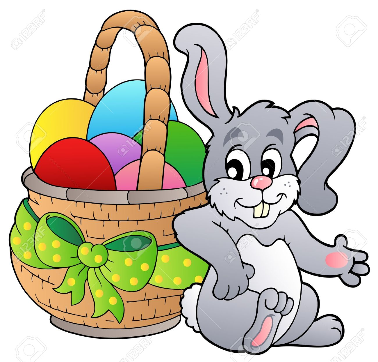 Basket With Easter Eggs And Bunny Royalty Free Cliparts, Vectors ... for Easter Eggs In A Basket With A Bunny  45ifm