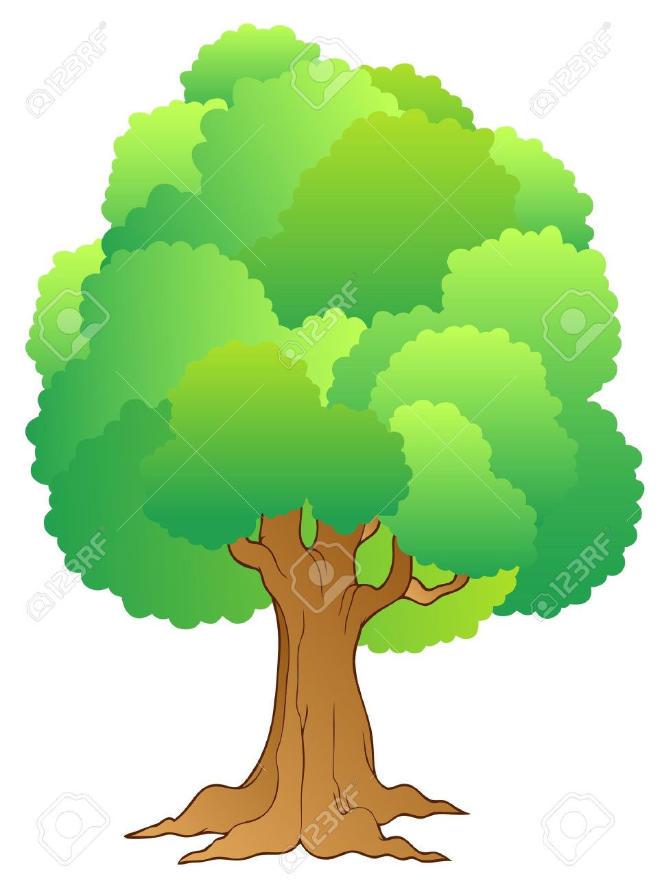 big tree with green treetop royalty free cliparts vectors and rh 123rf com vector tree silhouette vector tree roots