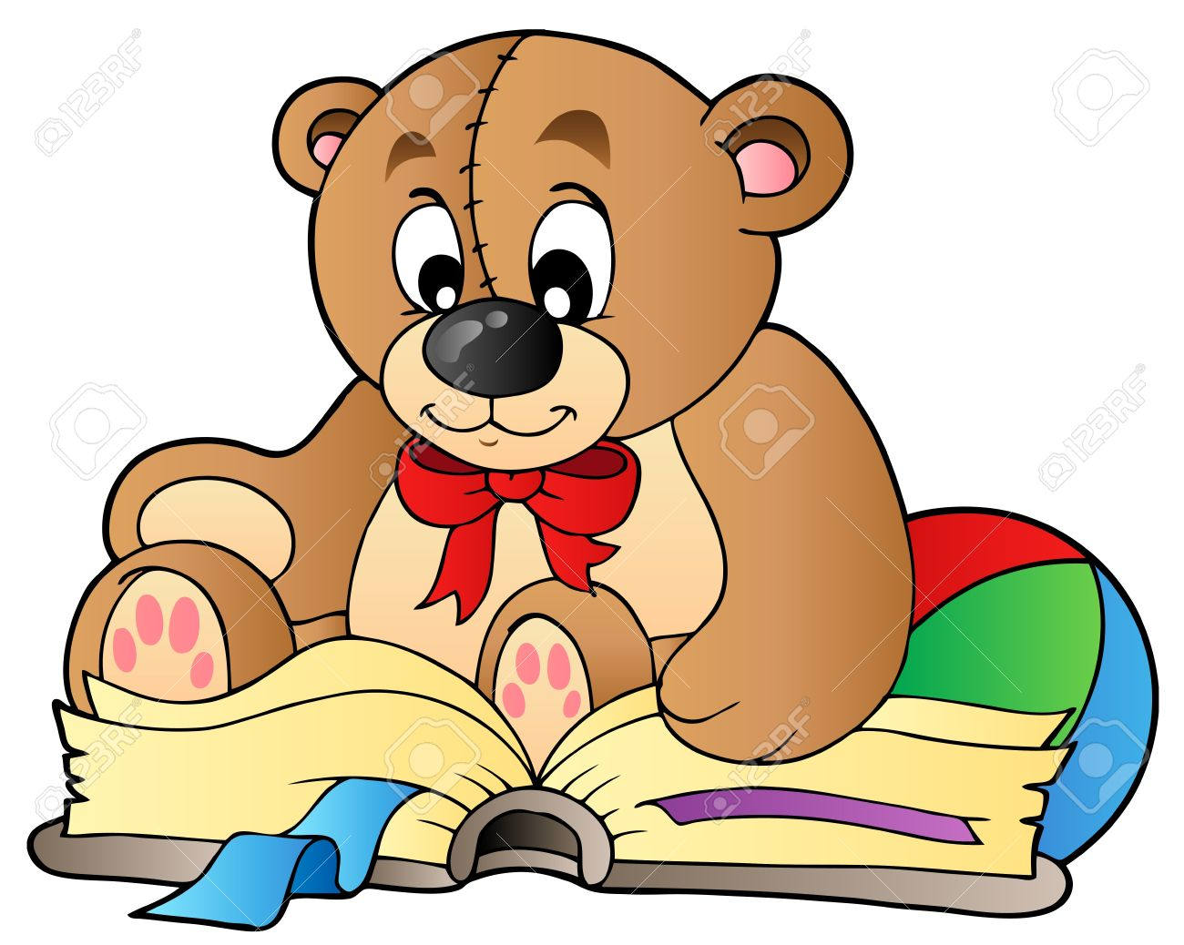 cute teddy bear reading book royalty free cliparts vectors and