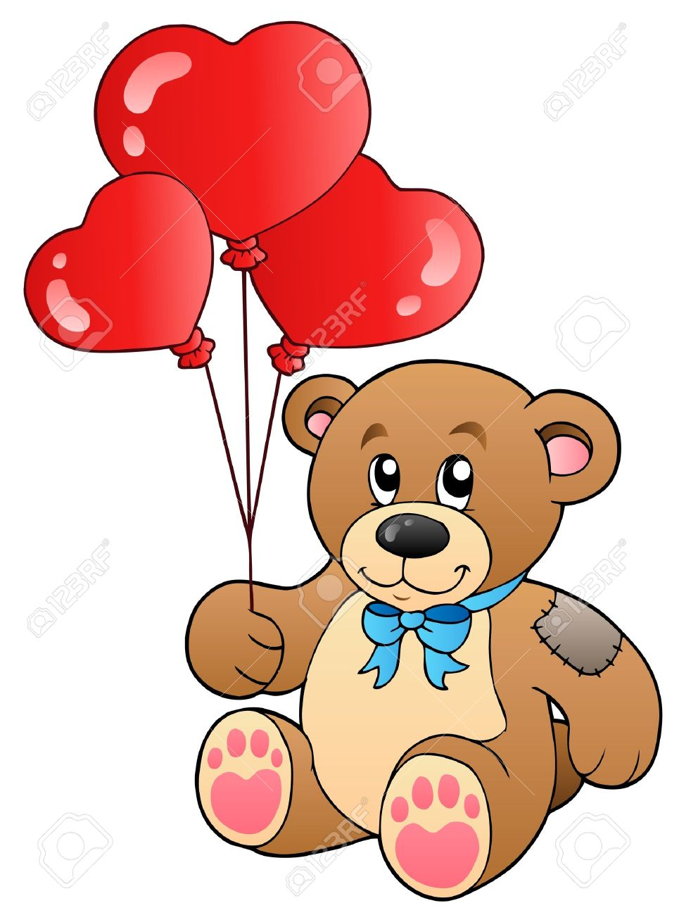 Cute Teddy Bear With Balloons Royalty Free Cliparts, Vectors, And ...