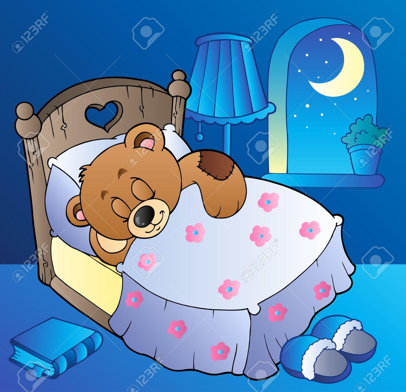 schlafende teddybär im schlafzimmer lizenzfrei nutzbare, Schlafzimmer entwurf