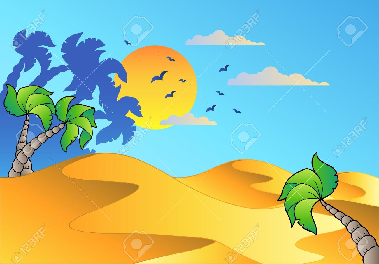 Cartoon desert landscape - vector illustration. Stock Vector - 8985704