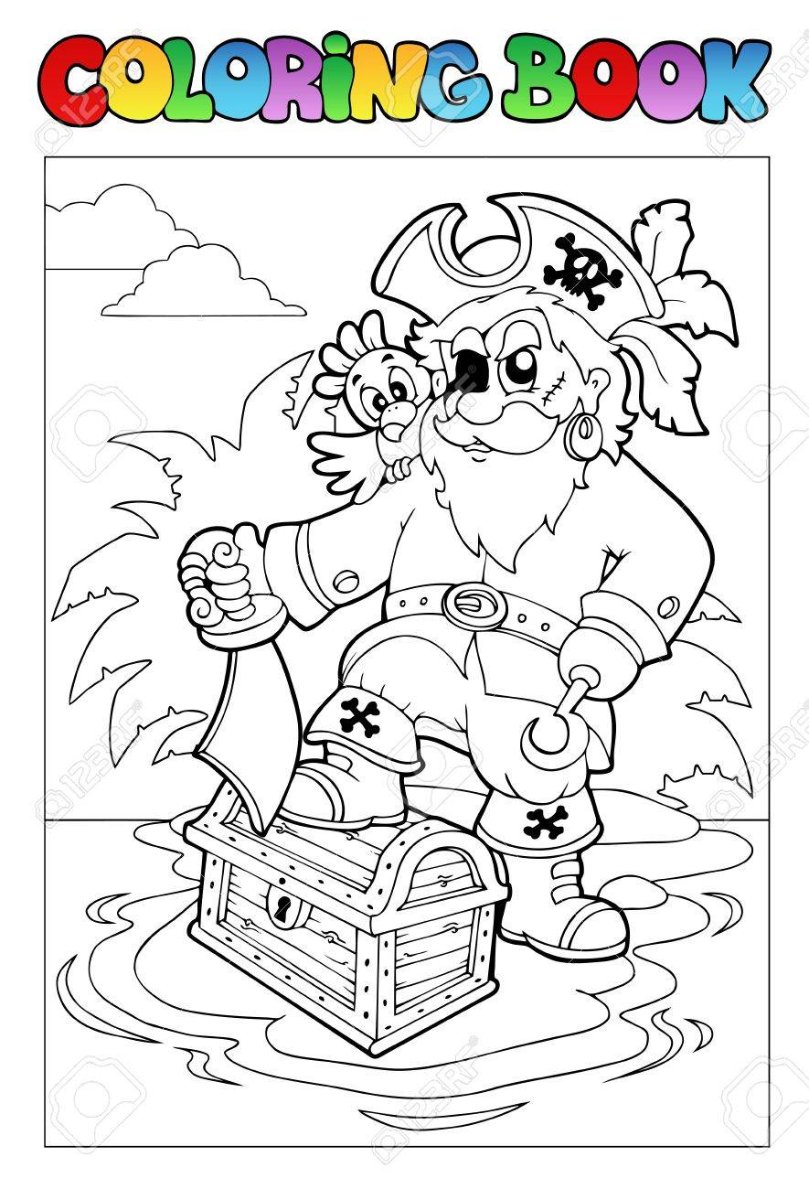 Coloring book with pirate scene 1 - Vector illustration. Stock Vector - 8985705