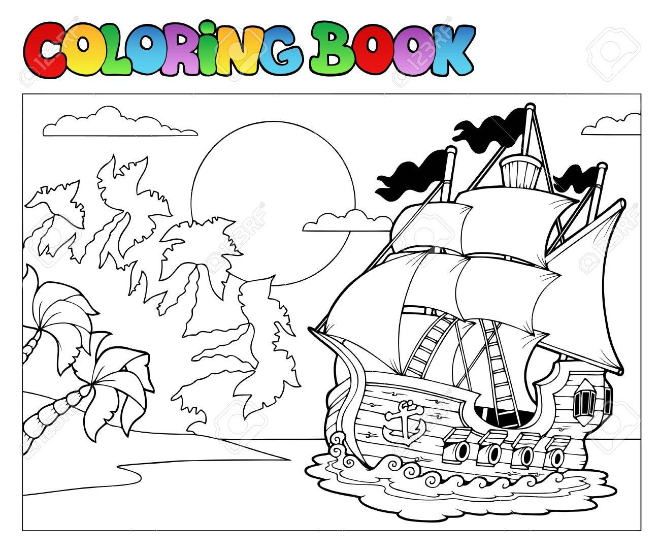 Libro Para Colorear Con Escena De Pirata 2 - Ilustración Vectorial ...