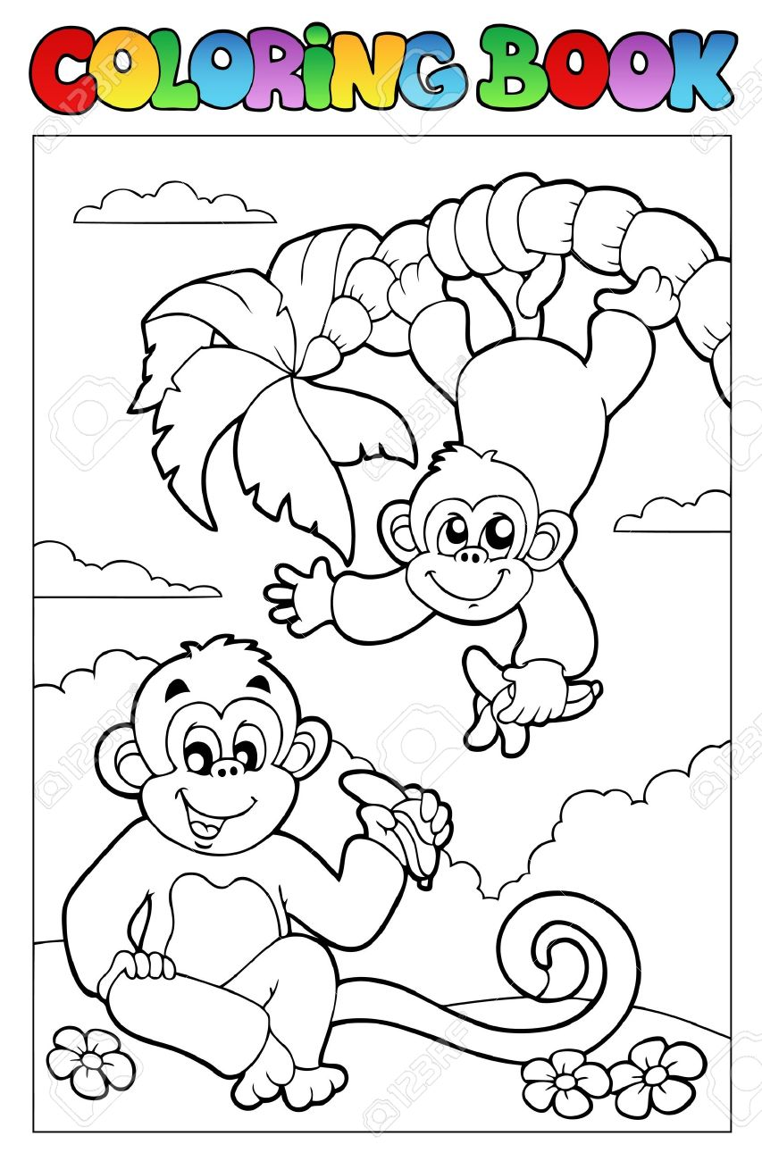 Libro Para Colorear Con Dos Monos - Ilustración Vectorial ...
