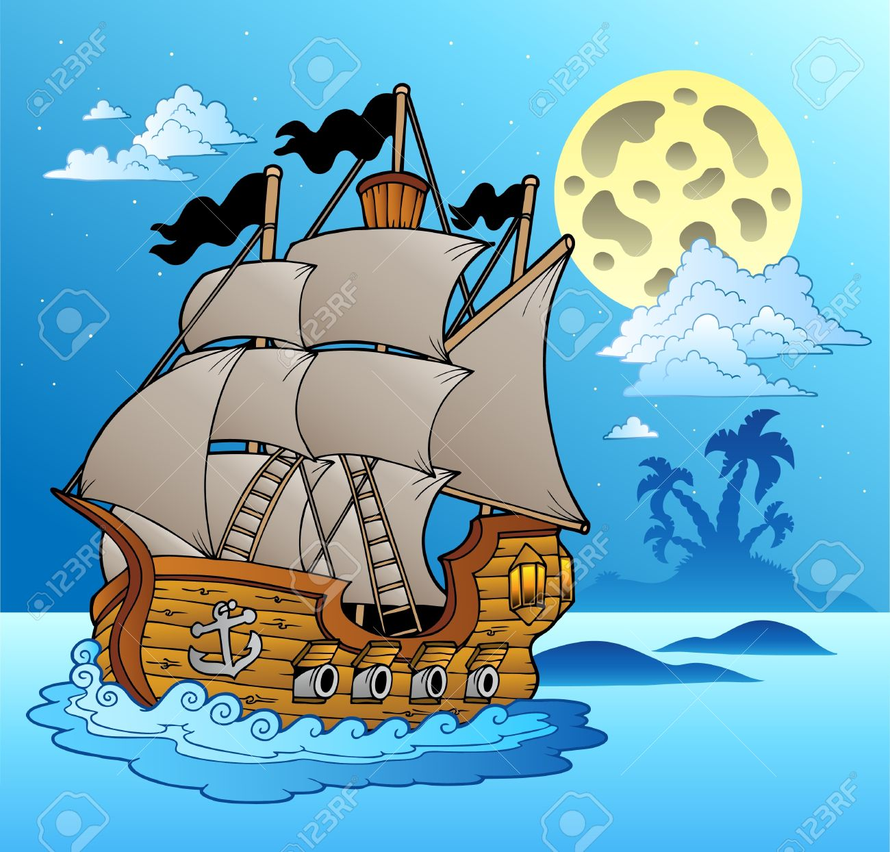 Old vessel in night seascape - vector illustration. Stock Vector - 8985696