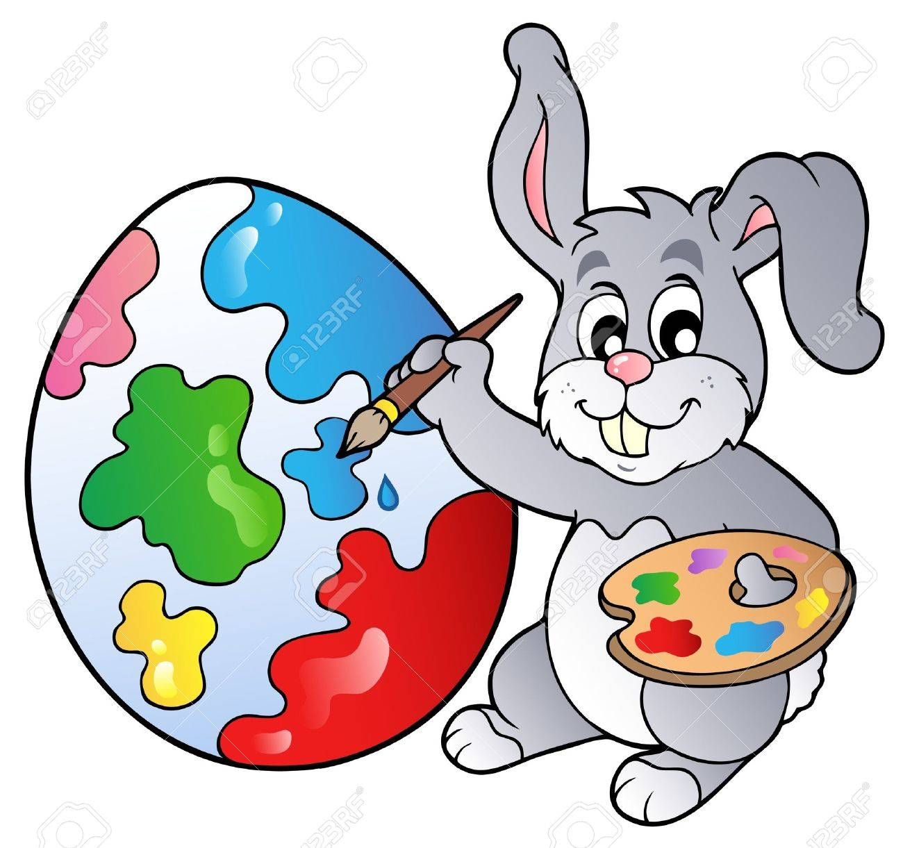 bunny artist painting easter egg royalty free cliparts vectors