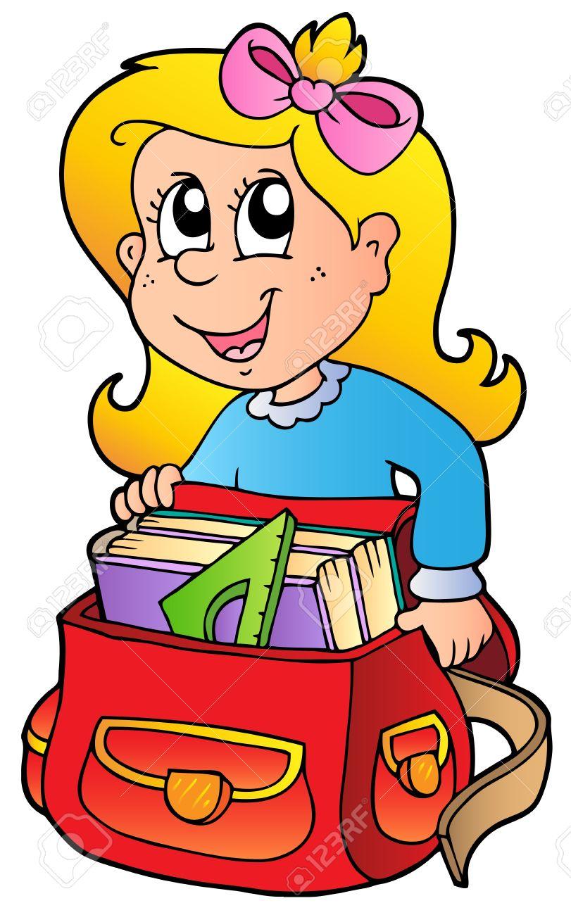 Cartoon girl with school bag Stock Vector - 9133396
