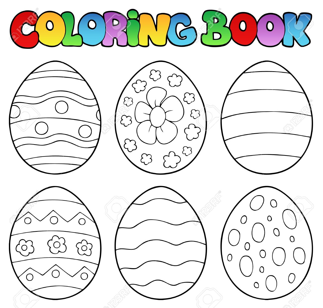 Coloring Book With Easter Eggs Stock Vector