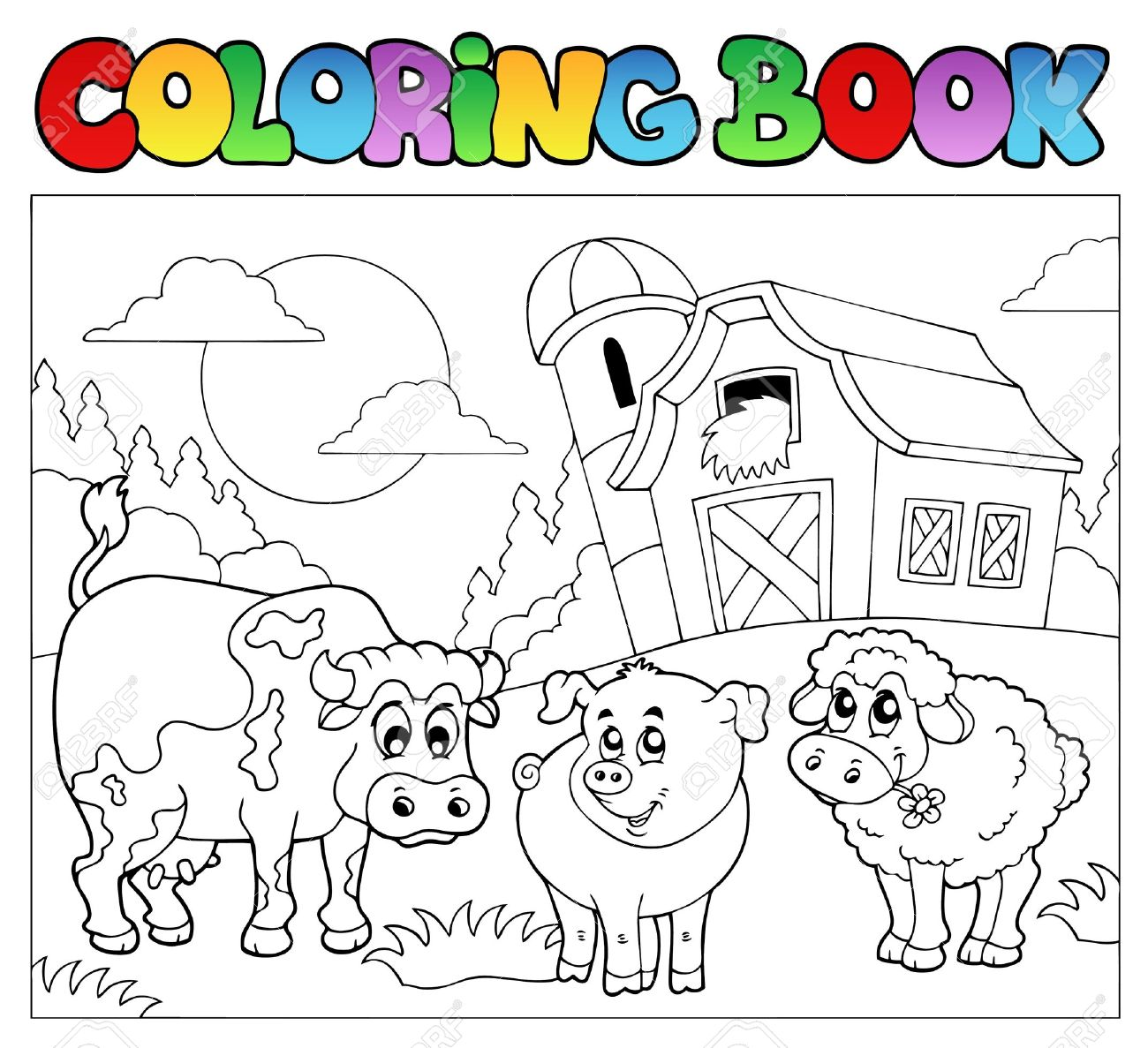 Coloring Book With Farm Animals Stock Vector