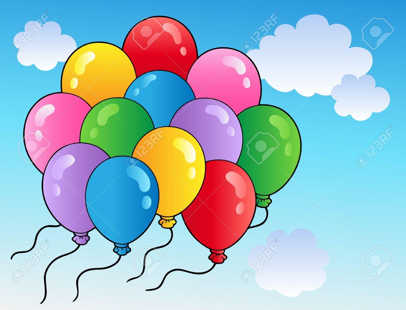 Blue sky with cartoon balloons 2 Stock Vector - 9199572
