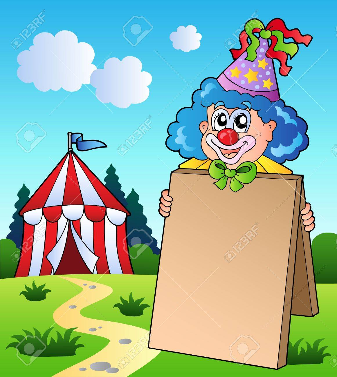 Clown holding board near tent Stock Vector - 9199570