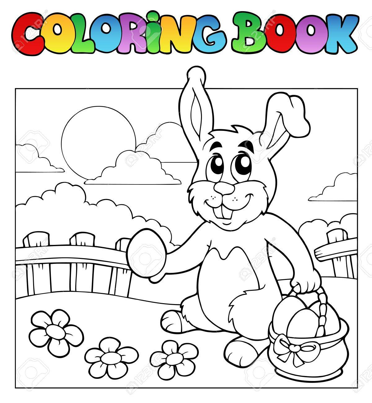 Coloring book with bunny and eggs Stock Vector - 9199448