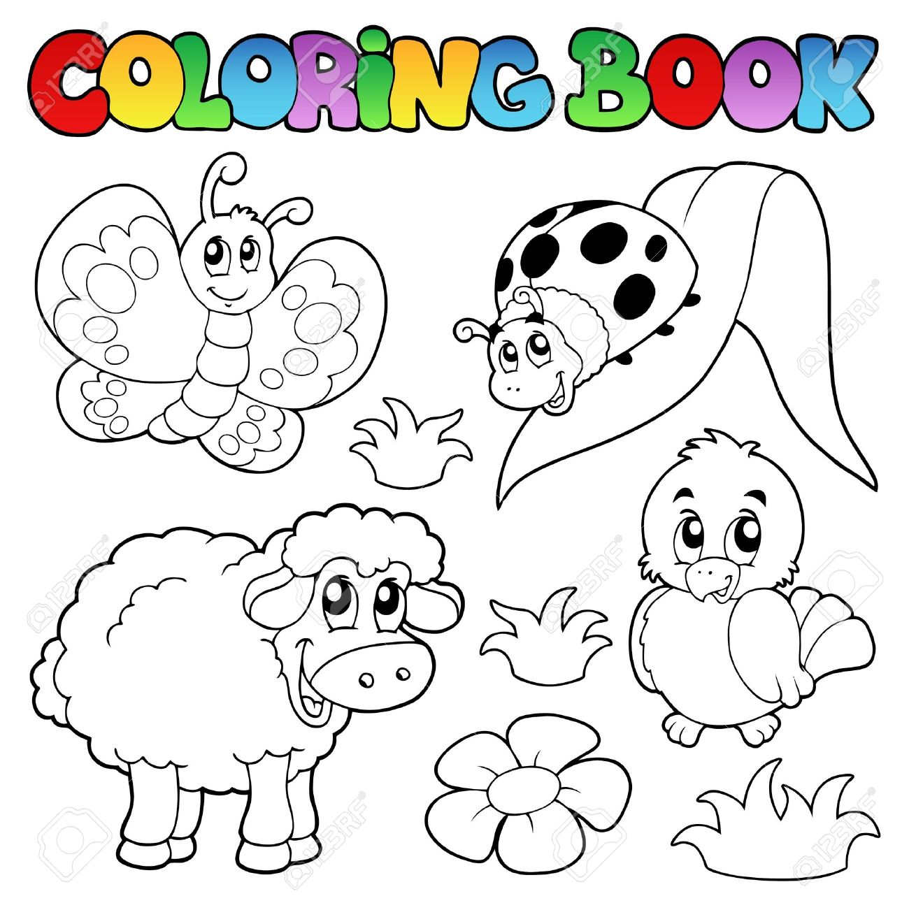 Coloring Book With Spring Animals Stock Vector