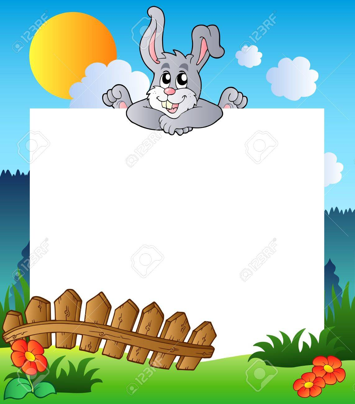 Easter Frame With Lurking Bunny Royalty Free Cliparts, Vectors, And ...