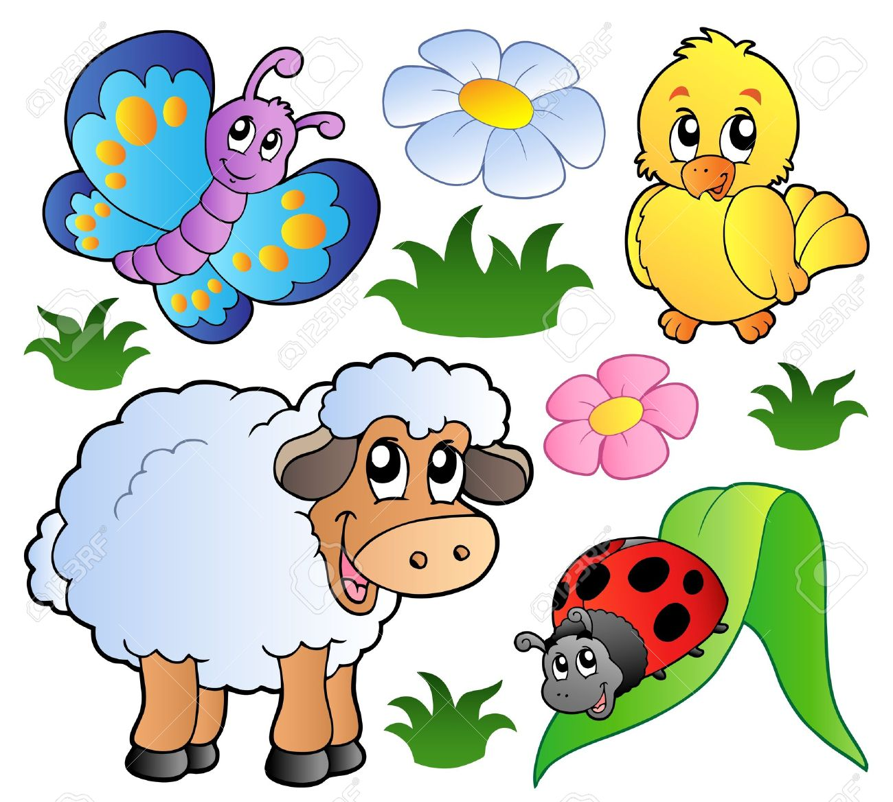 various happy spring animals royalty free cliparts vectors and