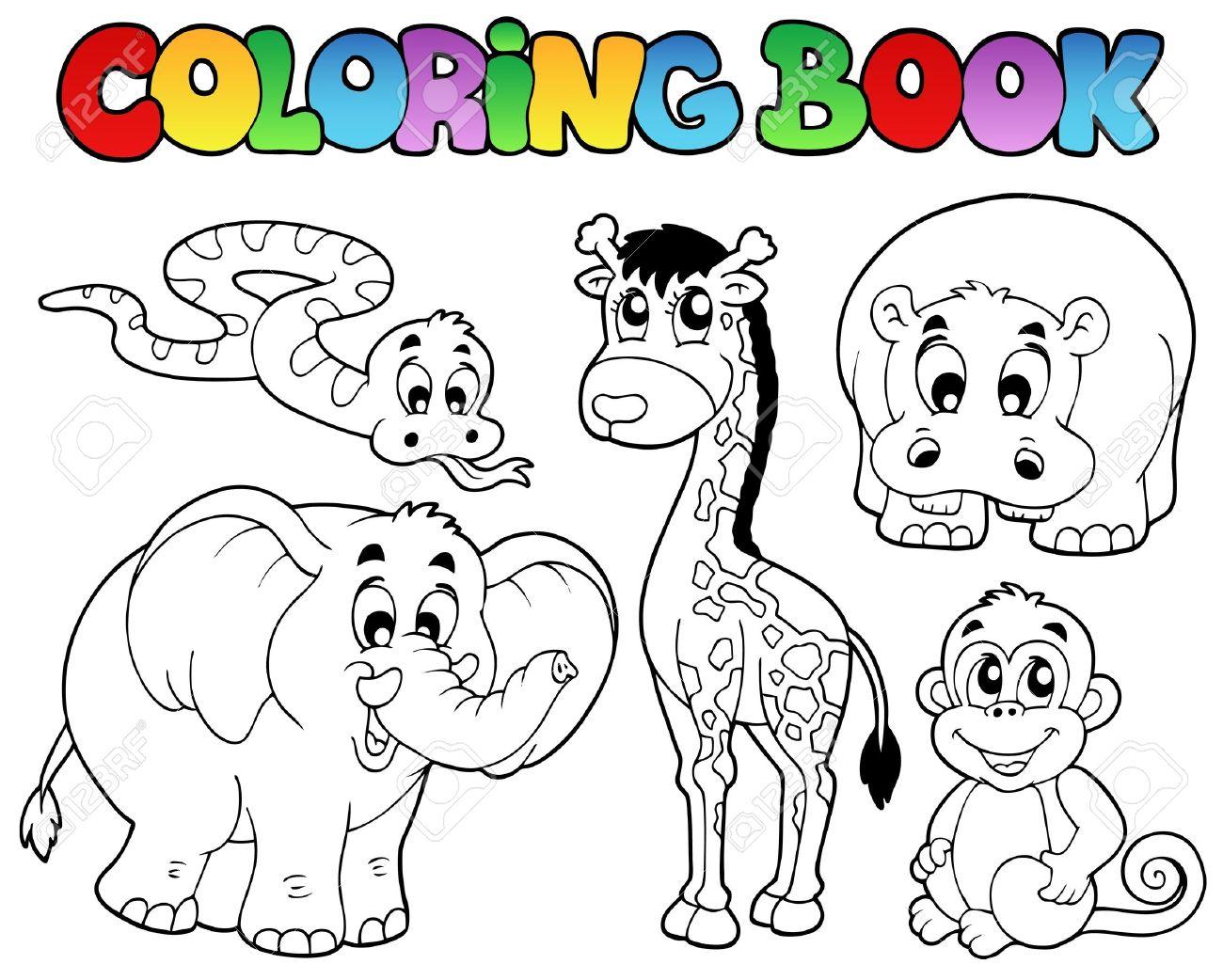 Libro Para Colorear Con Animales Africanos - Ilustración Vectorial ...