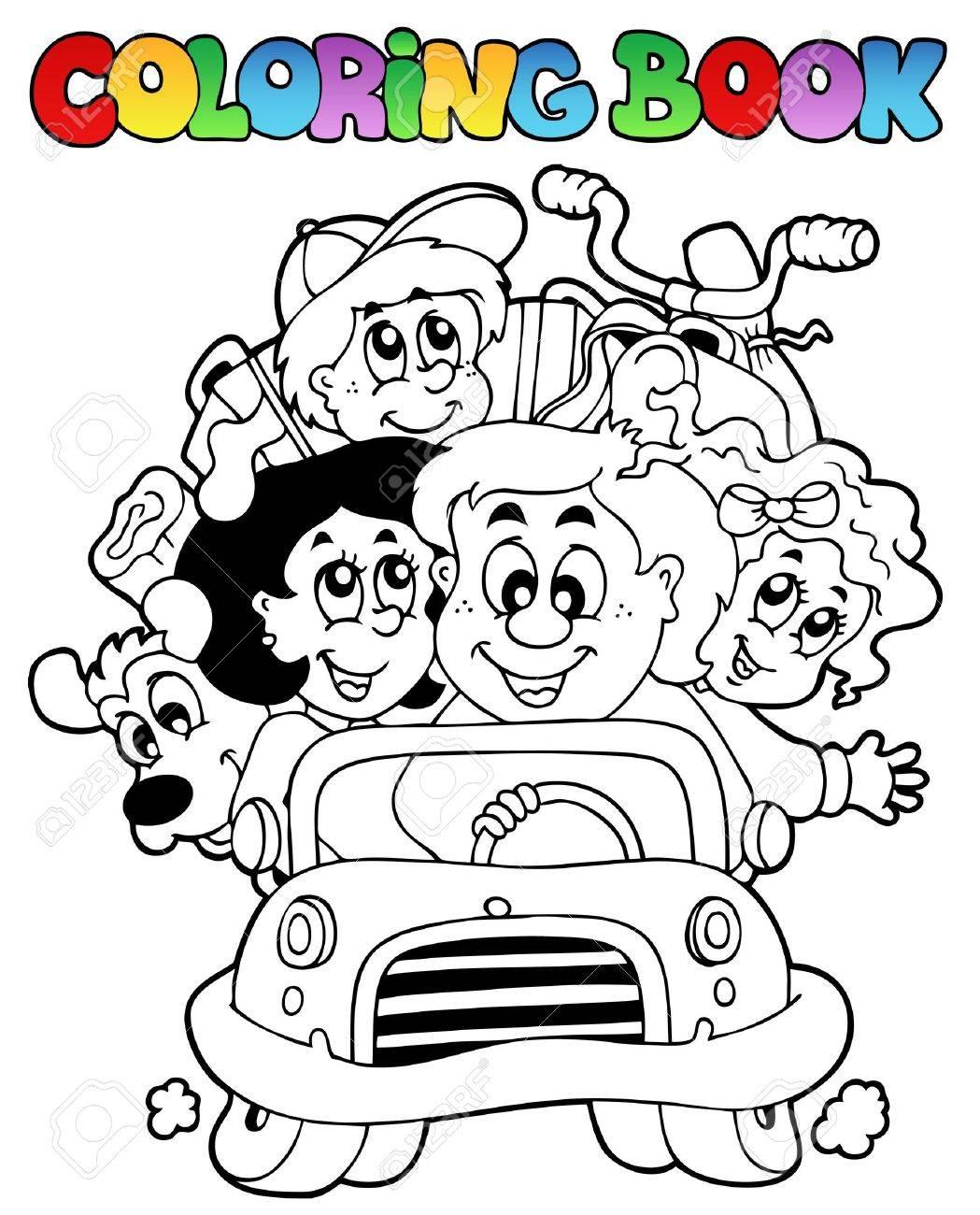 Libro Para Colorear Con Familia En Coche Ilustración Vectorial