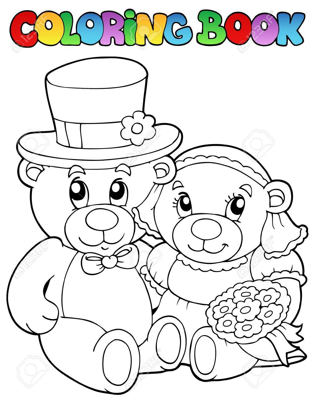 Coloring book wedding pictures - Coloring Book With Wedding Bears Vector Illustration Stock Vector 9353074