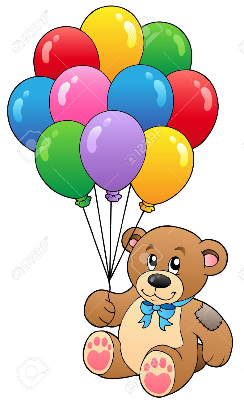 Cute teddy bear holding balloons - vector illustration. Stock Vector - 9353102