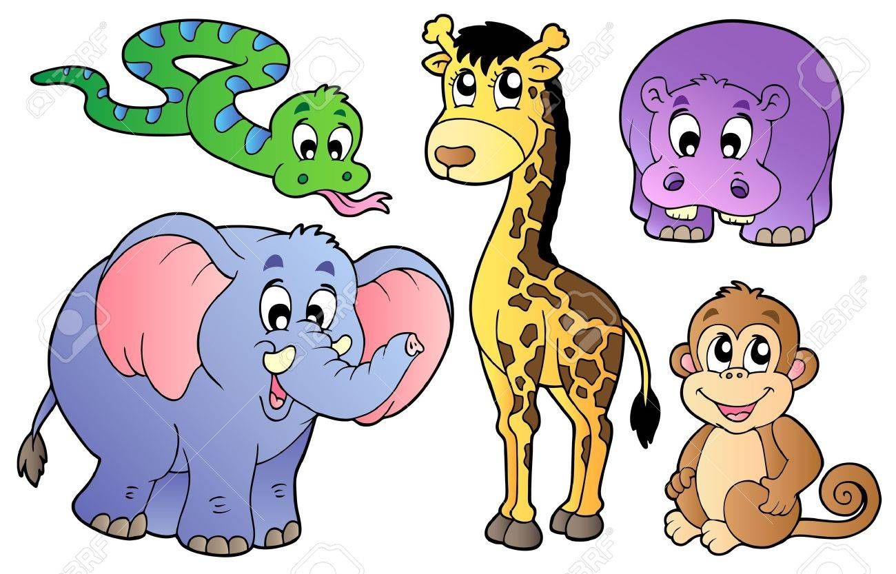 set of cute african animals vector illustration royalty free