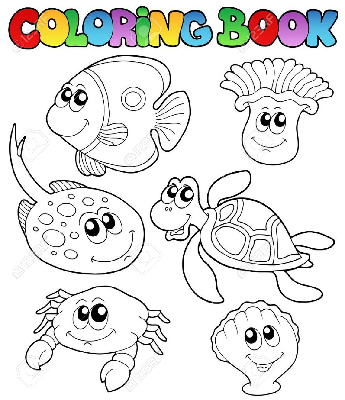 Libro Para Colorear Con Animales Marinos 3 - Ilustración Vectorial ...