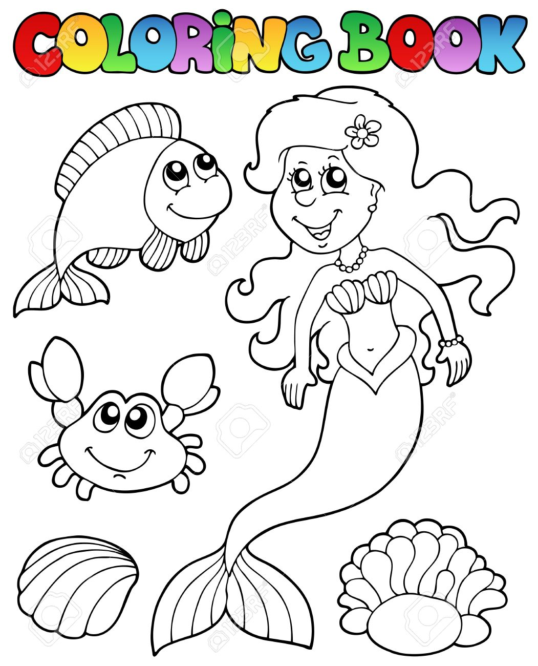 Coloring book with mermaid - vector illustration. Stock Vector - 9443074