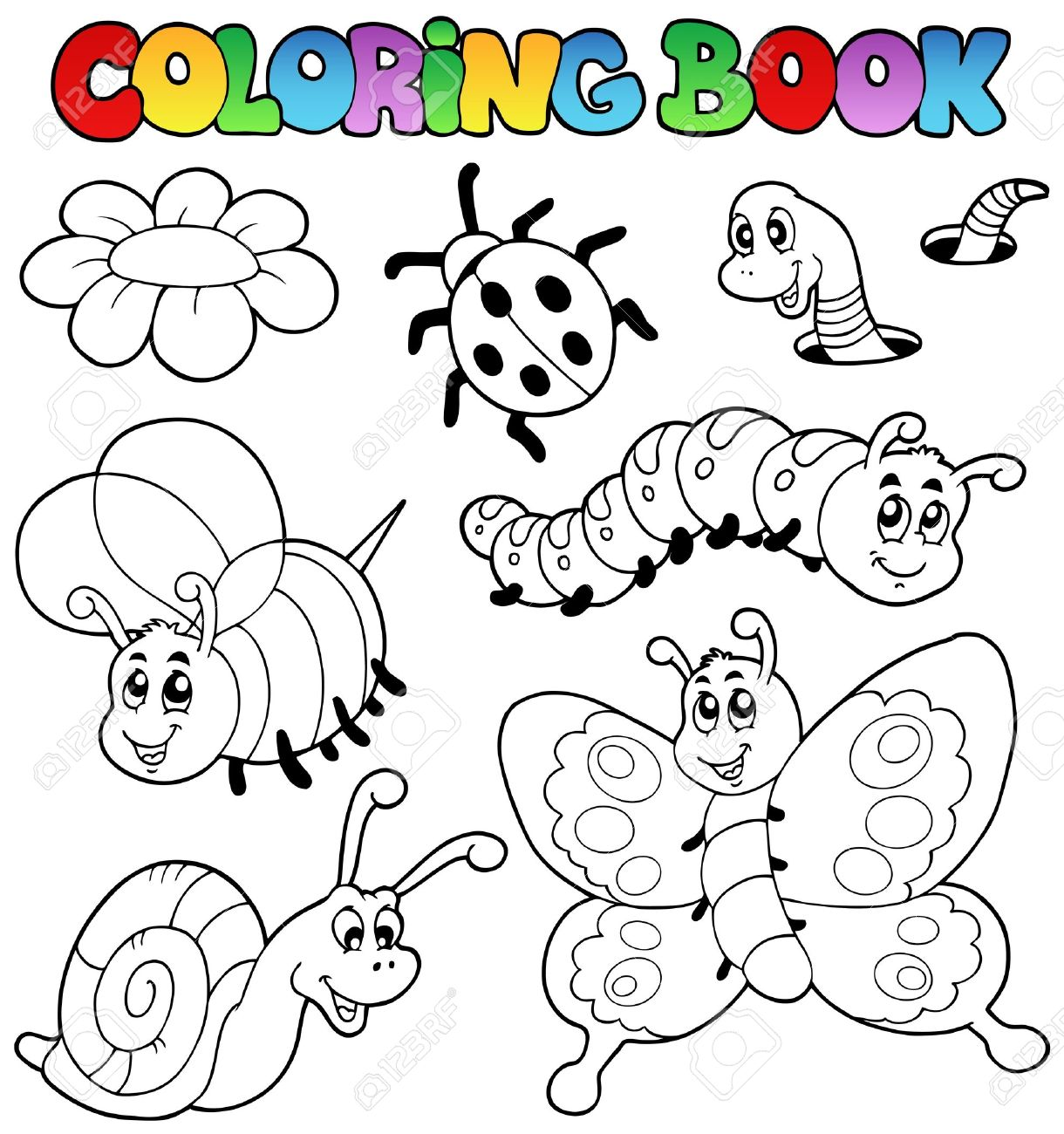 Coloring book with small animals 2 - vector illustration. Stock Vector - 9443073