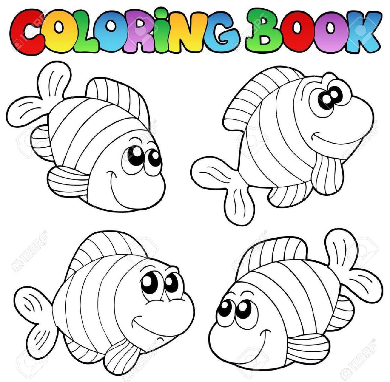 Libro Para Colorear Con Rayas Peces - Ilustración Vectorial ...
