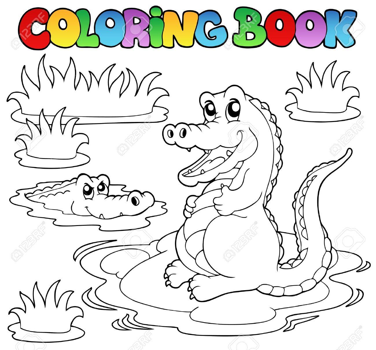 Bonito Cocodrilo Y Cocodrilo Para Colorear Bosquejo - Ideas Para ...