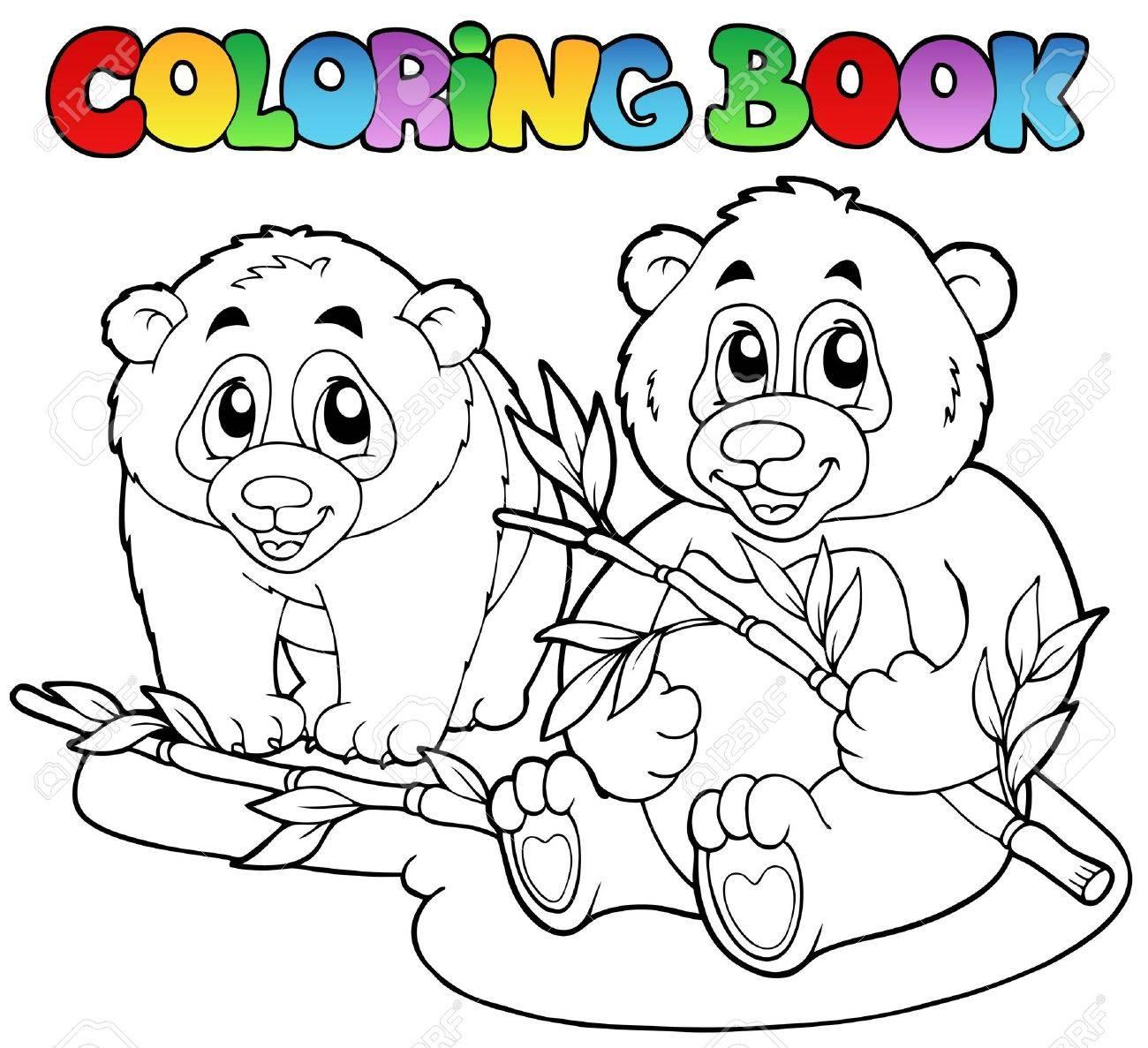 Libro Para Colorear Con Dos Osos Panda Ilustración Vectorial