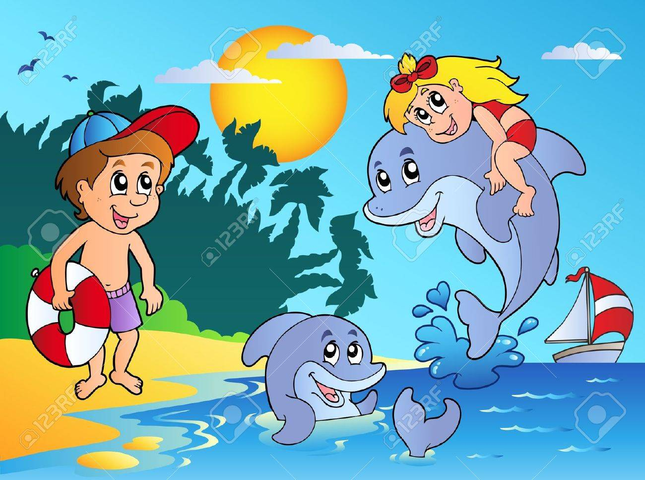 Summer beach with kids and dolphins - vector illustration. - 9442189