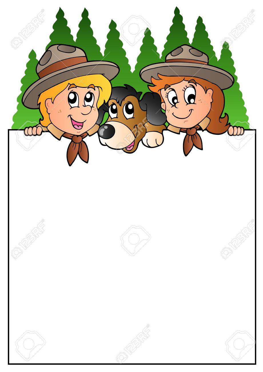 Blank frame with lurking scouts Stock Vector - 9528306