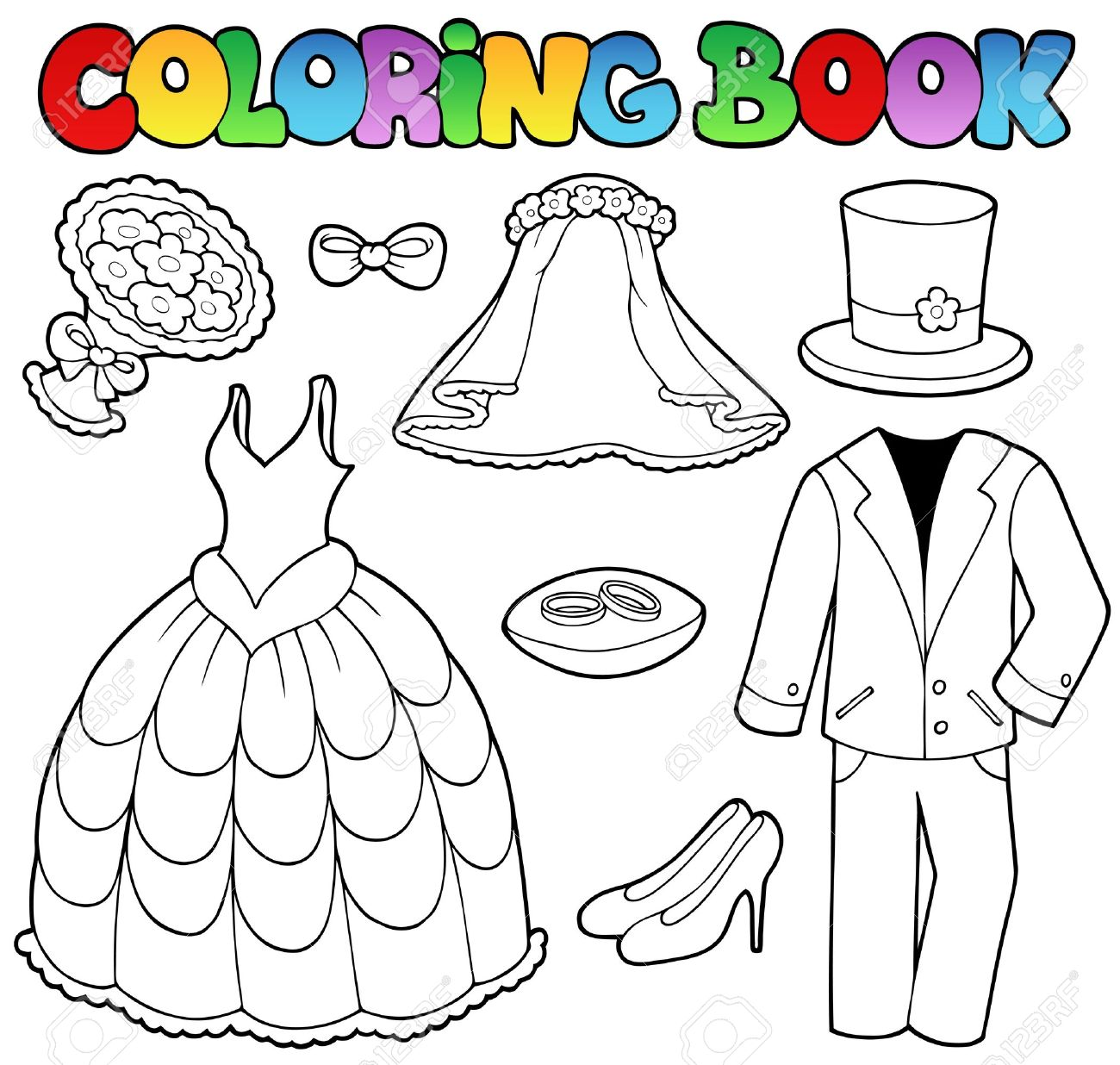 coloring book wedding : Coloring Book With Wedding Clothes Vector Illustration Stock Vector 9528317