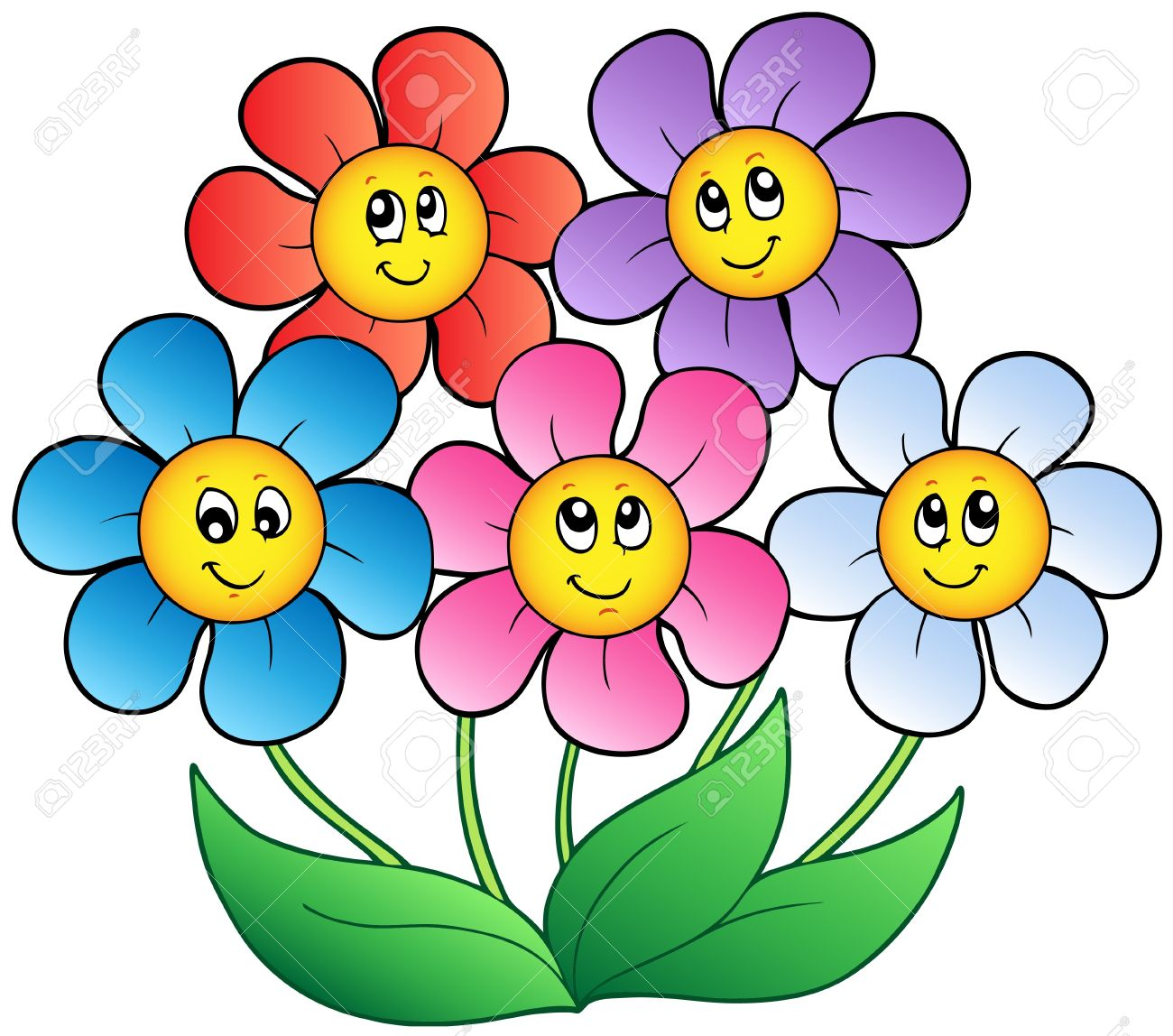 five cartoon flowers royalty free cliparts vectors and stock