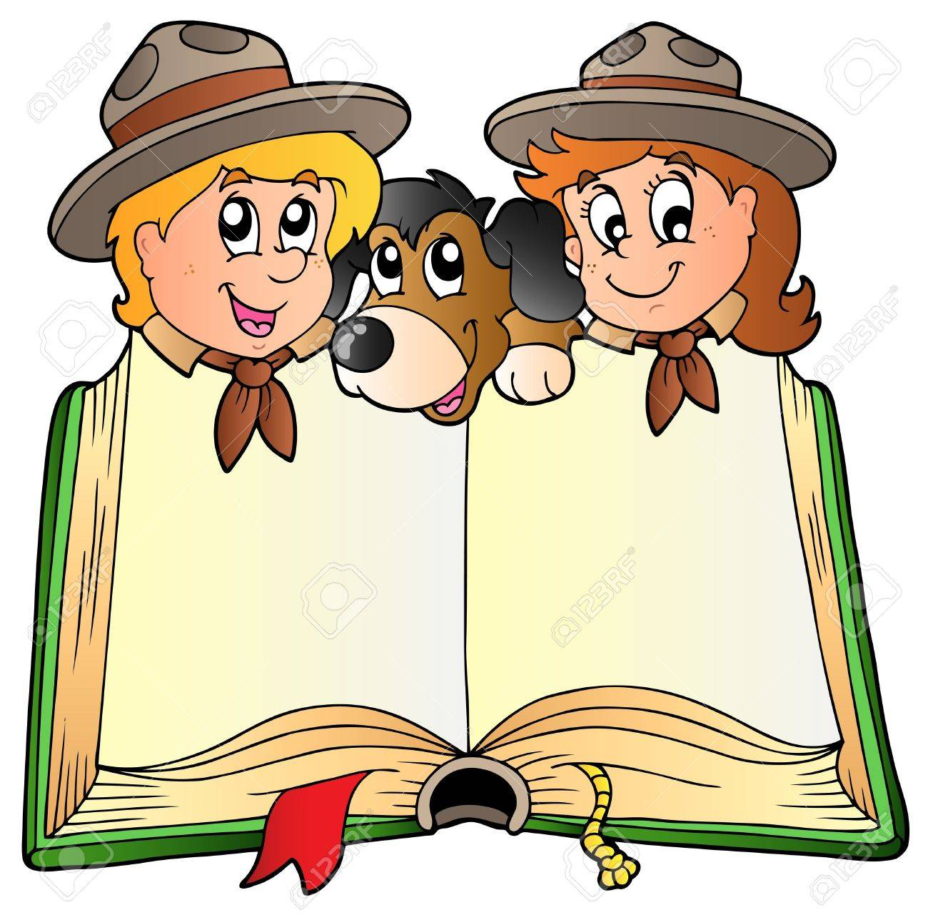 Opened book with two scouts and dog Stock Vector - 9528318