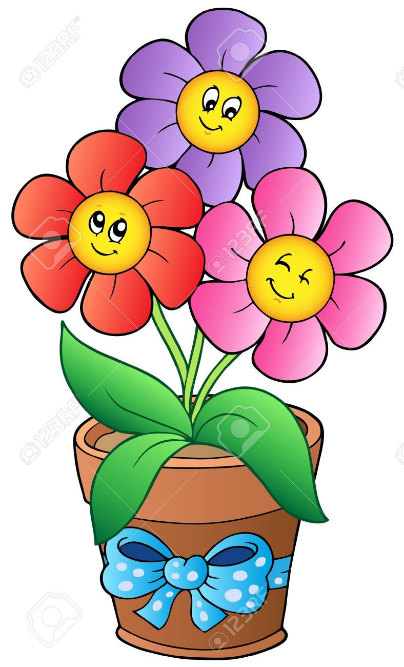 Pot With Three Cartoon Flowers Stock Vector 9528297 How To Draw