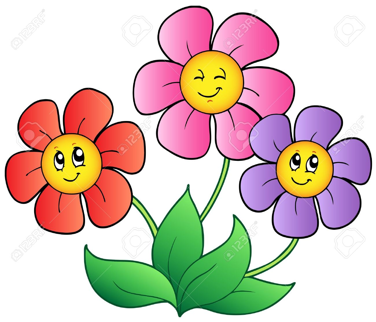 three cartoon flowers royalty free cliparts vectors and stock rh 123rf com cartoon flower garden cartoon flowers to draw